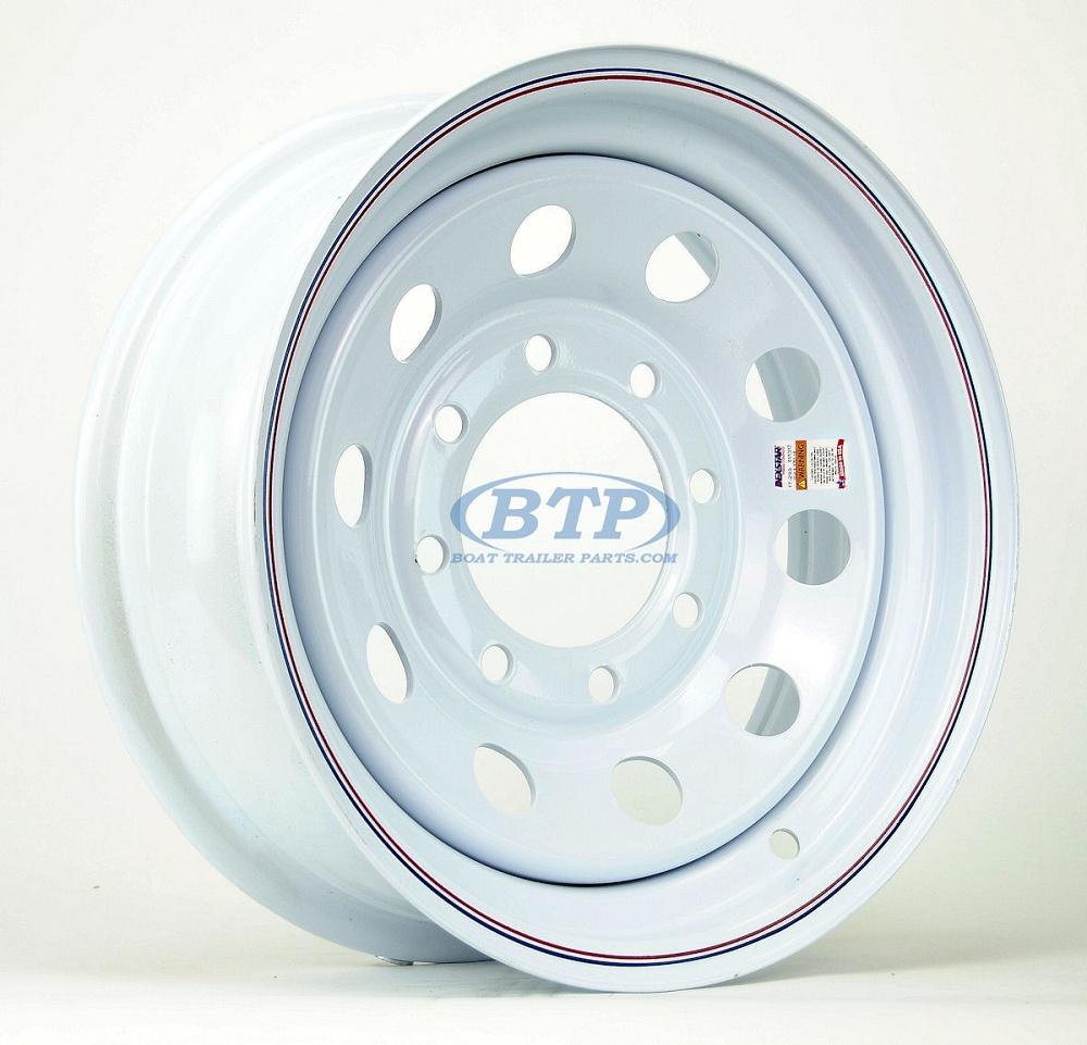 trailer wheel   white painted modular steel  lug  bolt pattern