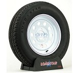 Trailer Tire ST205/75R15 Radial on White Mod Wheel 5 Lug by Loadstar