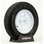 Trailer Tire ST205/75R15 Radial on White Spoke Wheel 5 on 5 Lug Pattern
