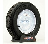 Trailer Tire ST205/75R15 Radial on White Spoke Wheel 5 Lug by Loadstar