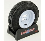 Trailer Tire 4.80 x 8 on White Painted Wheel 590lb 4 Lug Rim by Loadstar