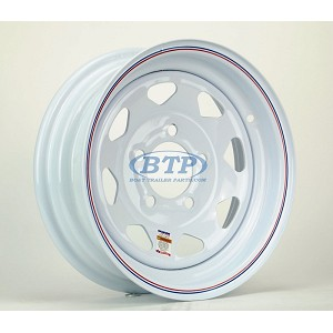 Trailer Wheel 13 inch White Painted Steel 5 Lug Rim 5 on 4 1/2