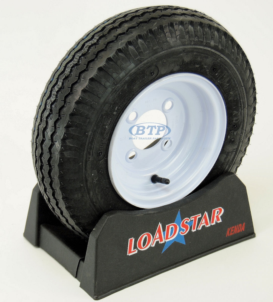Trailer Tire 4 80 X 8 On White Painted Wheel 590lb 4 Lug Rim By Loadstar