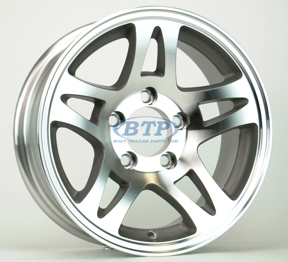 Aluminum Boat Trailer Wheel 14 Inch Split Spoke 5 Lug 5 On