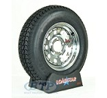 Boat Trailer Tire ST175/80D13 on Chrome Wheel 5 Lug Rim by Loadstar