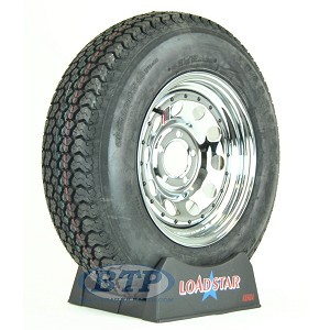 Trailer Tire ST205/75D14 on Chrome Wheel 5 Lug Rim by Loadstar