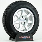 Boat Trailer Tire ST205/75D15 on Aluminum Wheel 7 Spoke 5 Lug by Loadstar