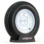 Trailer Tire ST205/75D15 Bias on White Painted Steel 5 on 5 Bolt Pattern