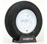 Trailer Tire ST225/75R15 Radial on a White Spoke Wheel 6 Lug by Loadstar