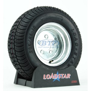 Trailer Tire 205/65-10 aka 20.5x8-10 LRE 1650lb on Galvanized Wheel 5 Lug by Loadstar