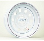 Trailer Wheel 15 inch White Modular Painted Steel 5 Lug Rim