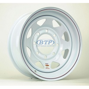 Trailer Wheel 16 inch White Spoke Painted Steel 8 Lug 8 Bolt Pattern