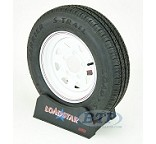 ST 145 R 12 Loadstar Trailer Tire on 5 Lug White Spoke Trailer Wheel